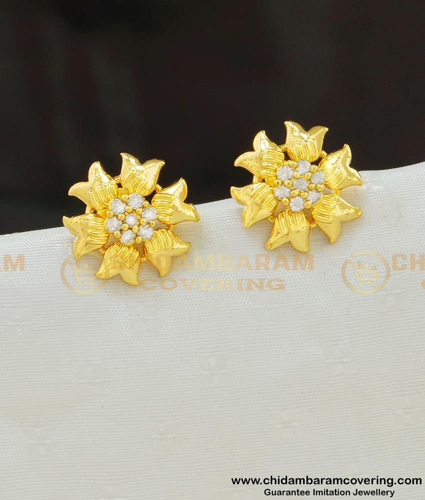 ERG552 - American Diamond Micro Gold Plated Flower Design Studs Earring for Female