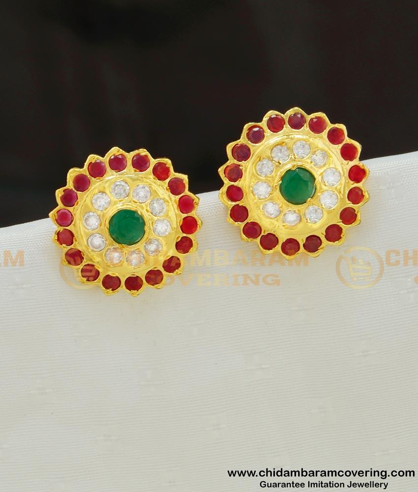 ERG553 - Panchaloha Traditional Flower Design Multi Stone Impon Big Studs for Women