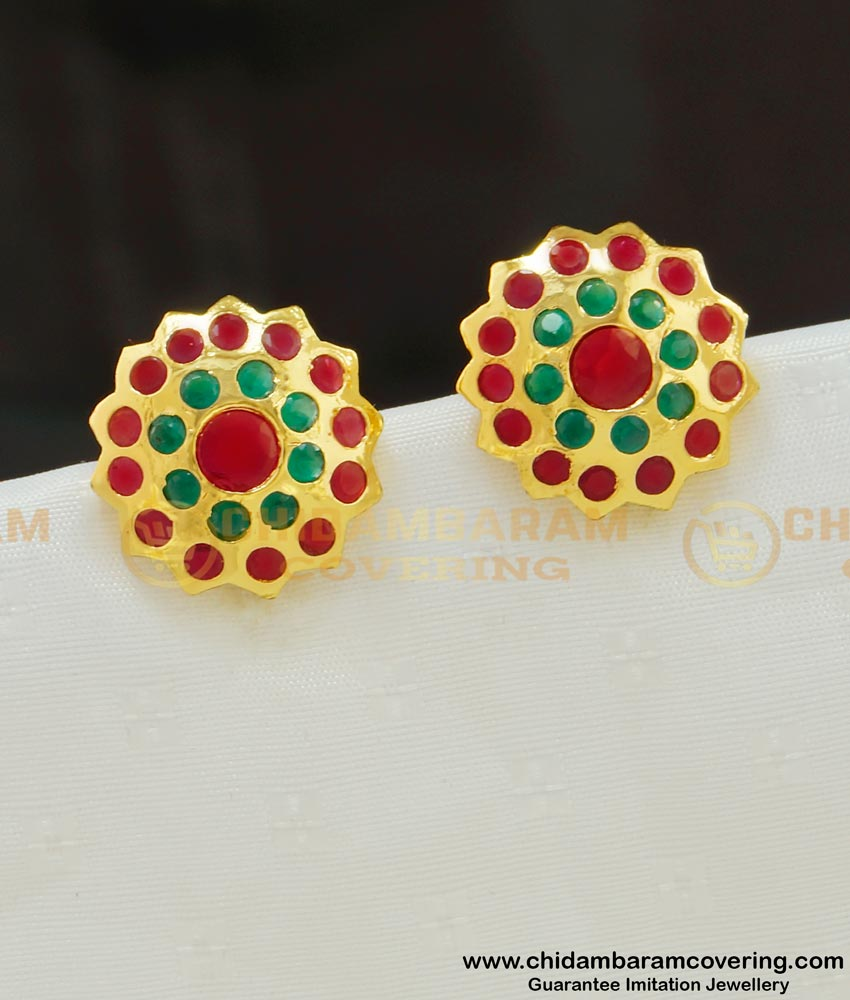 ERG554 - Beautiful High Quality Impon Multi Stone Earring Gold Plated Jewelry for Women