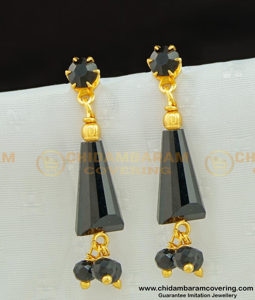 ERG581 - Stylish Gold Plated Handmade Black Crystal Dangler for Girls