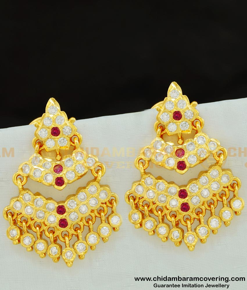 ERG584 - Impon Double Layer Real Gold Like Guarantee Stone Big Size Earrings
