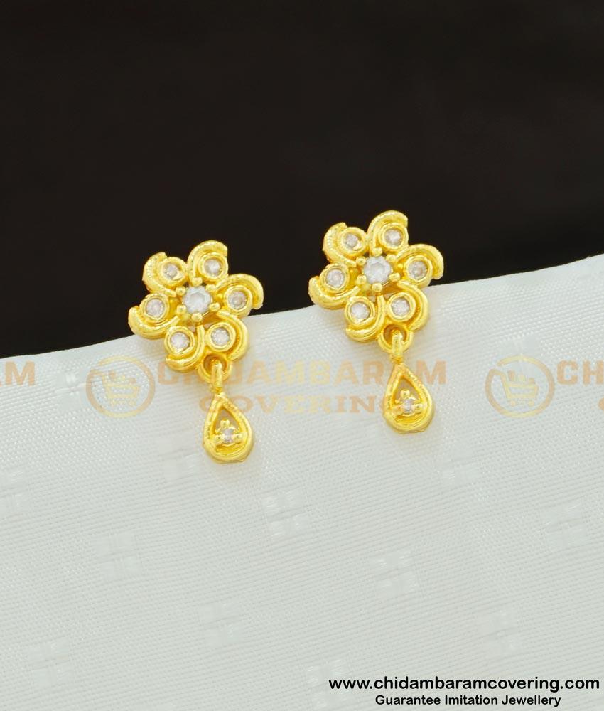 ERG590 - Cute Small Flower Design White Stone Stud Earrings for Girls