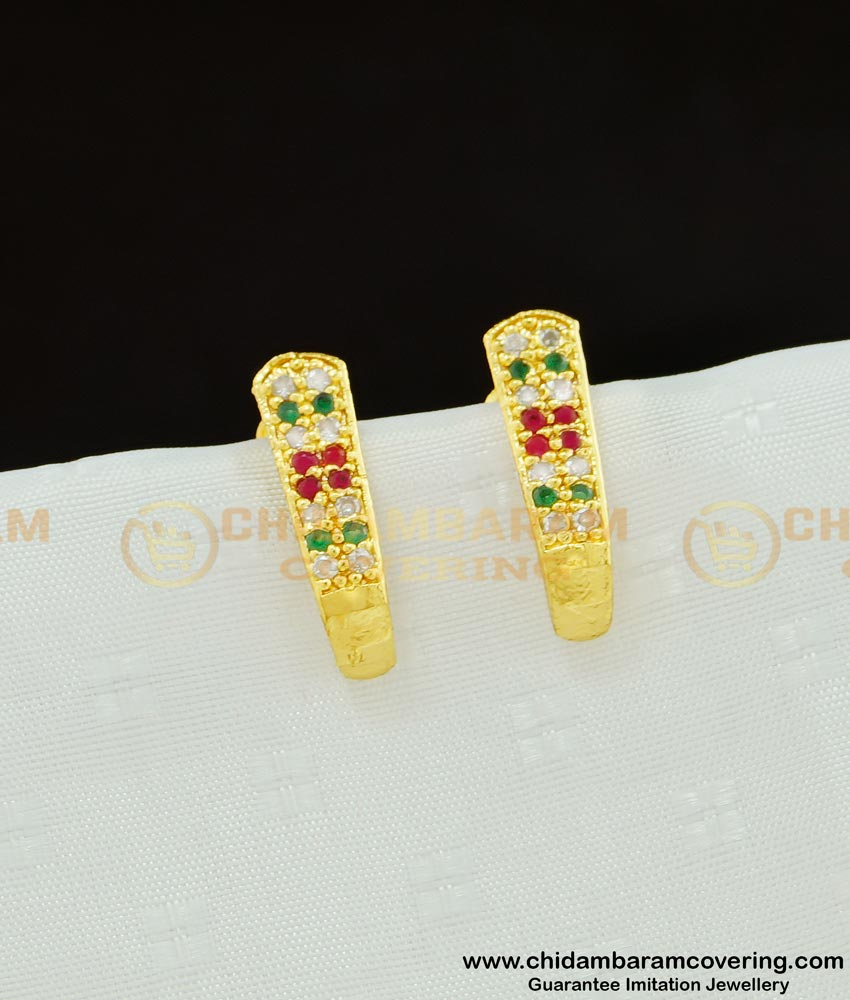 ERG595 - Real Gold Design Multi Stone J Model Gold Earring Design One Gram Gold Plated Jewellery