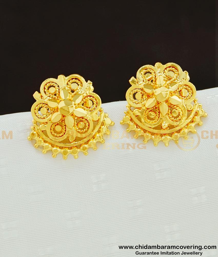 ERG607 - One Gram Gold Plated Flower Ear Studs Designs for Women