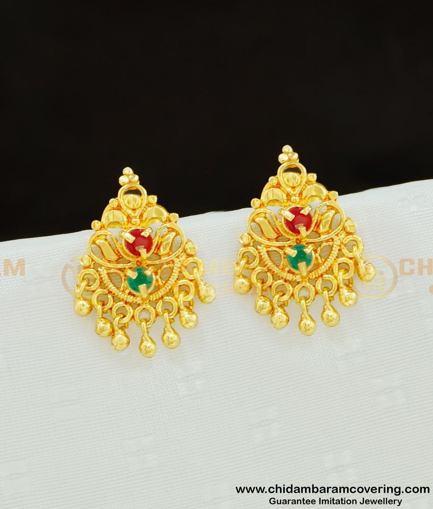 ERG609 - Traditional Gold Design  One Gram Gold Ruby Emerald Stone Earring for Women