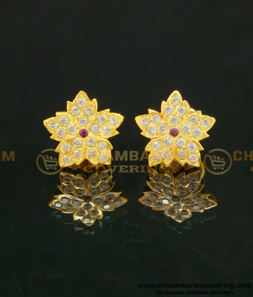 ERG626 - Latest Collection Unique Flower Design Impon Indian Gold Stone Earrings Online