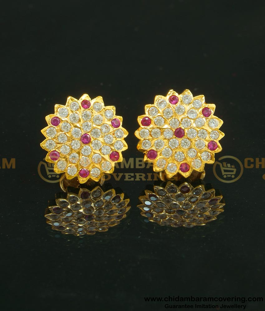 ERG627 - Panchaloha Traditional Flower Design Full Stone Round Studs for Women