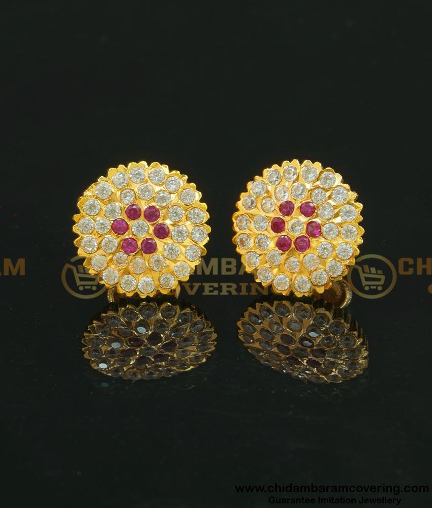 ERG629 - Gold Design Impon Flower Design Stone Big Size Studs Earrings for Women