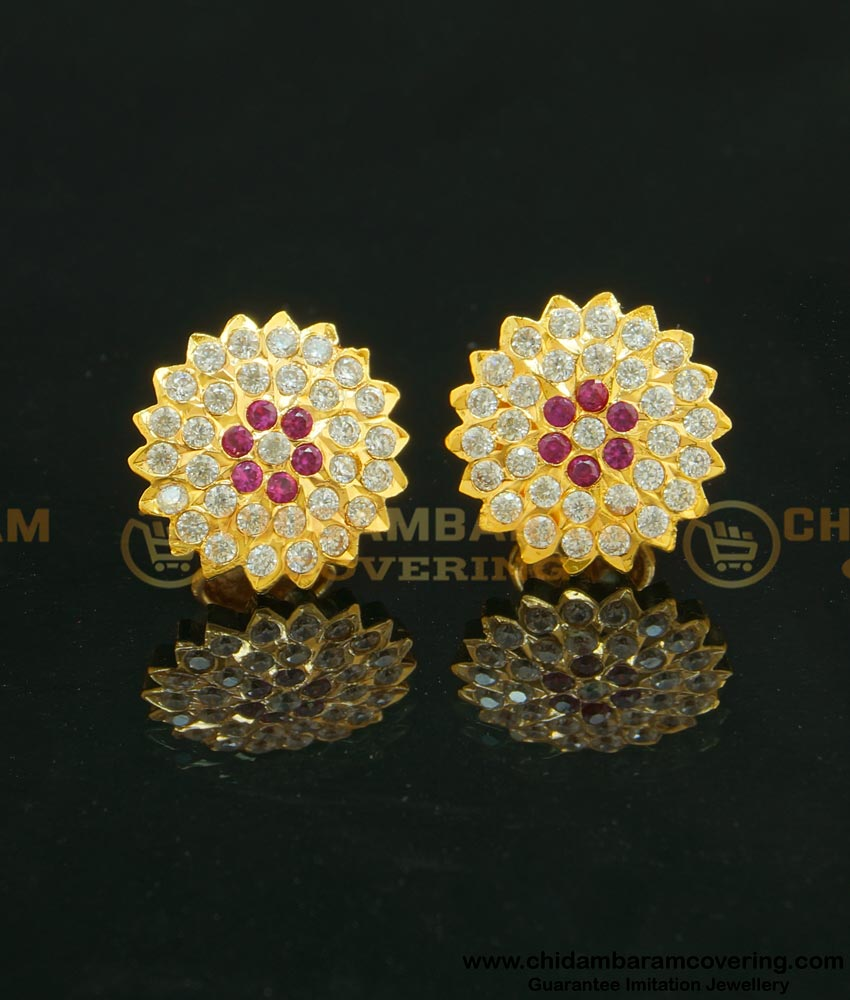 ERG630 - Impon Getti Metal Full Stone Stdus Gold Earrings Designs for Daily Use