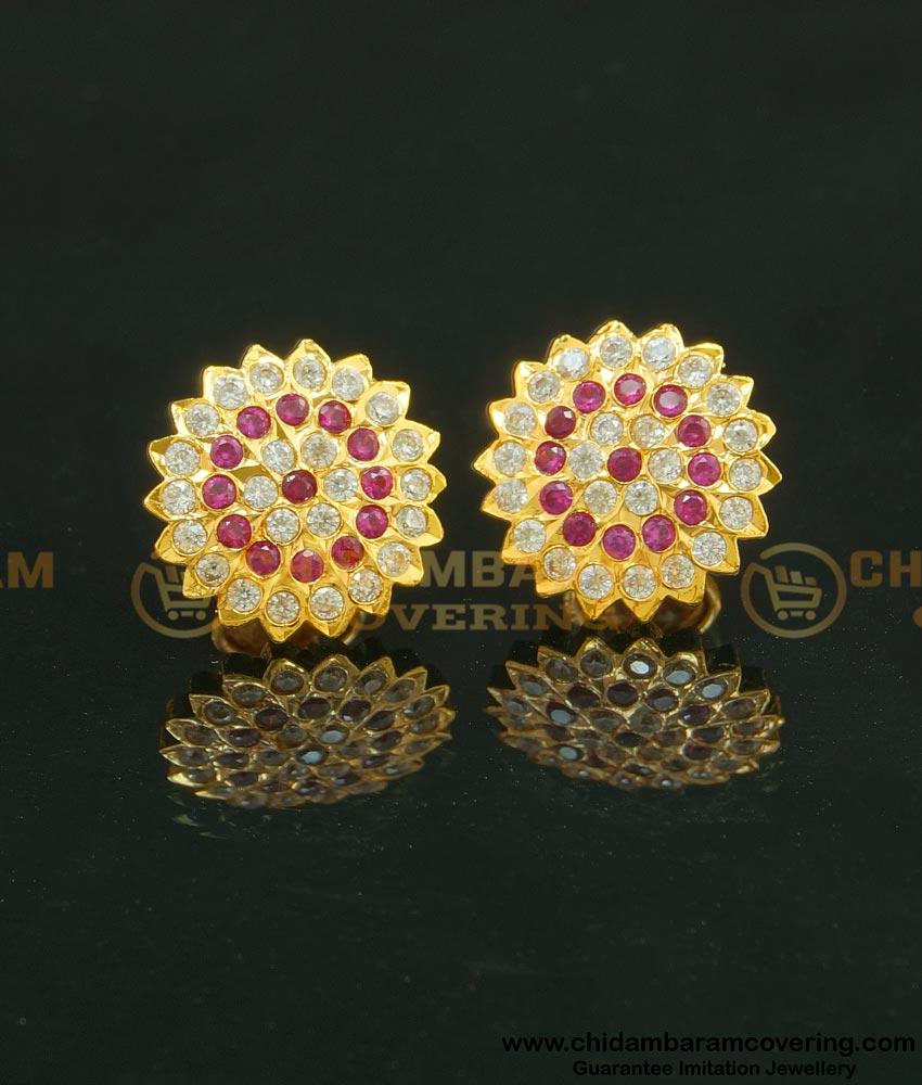 ERG631 - Trendy Impon Ruby and American Diamond Stone Ear Studs Guaranteed Earrings