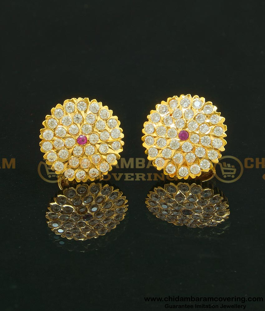 ERG632 - Traditional Real Gold Design White Stone Big Size Flower Studs Gold Plated Earrings for Ladies
