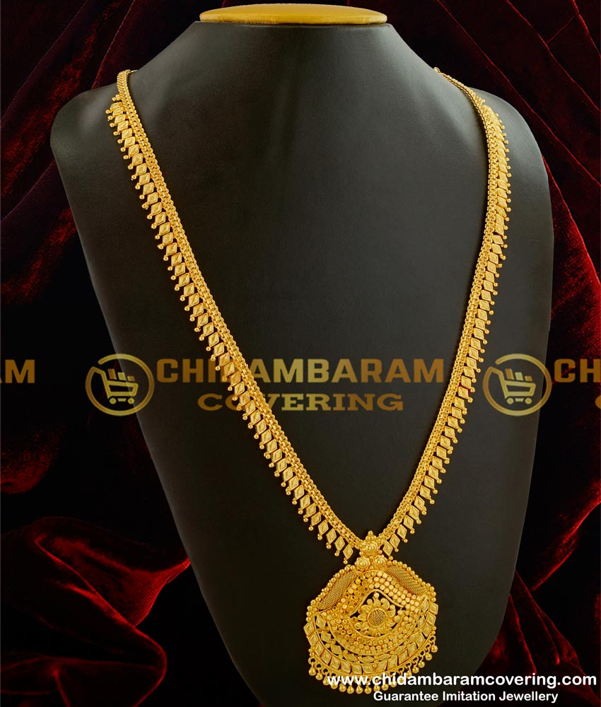 HRM031 - Gold Plated Kerala Style Plain Haram for Sarees Bridal Jewellery Online