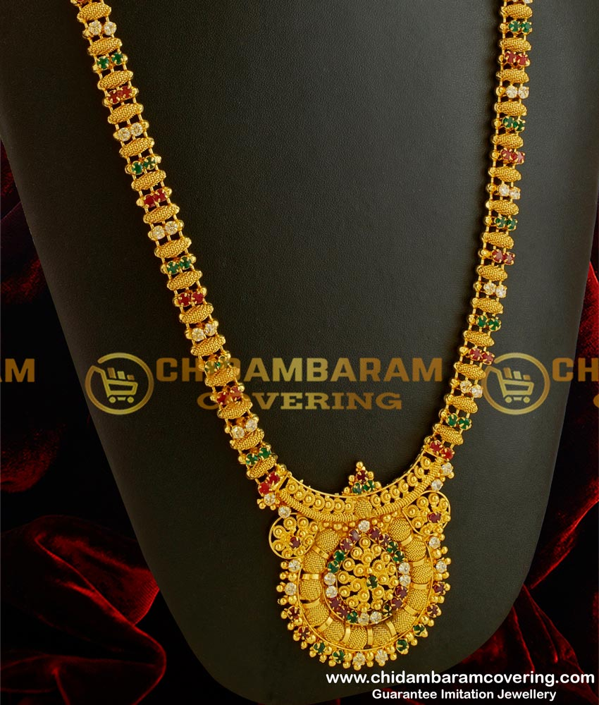 Hrm039 South Indian Gold Covering Ad Multi Color Stones Haram