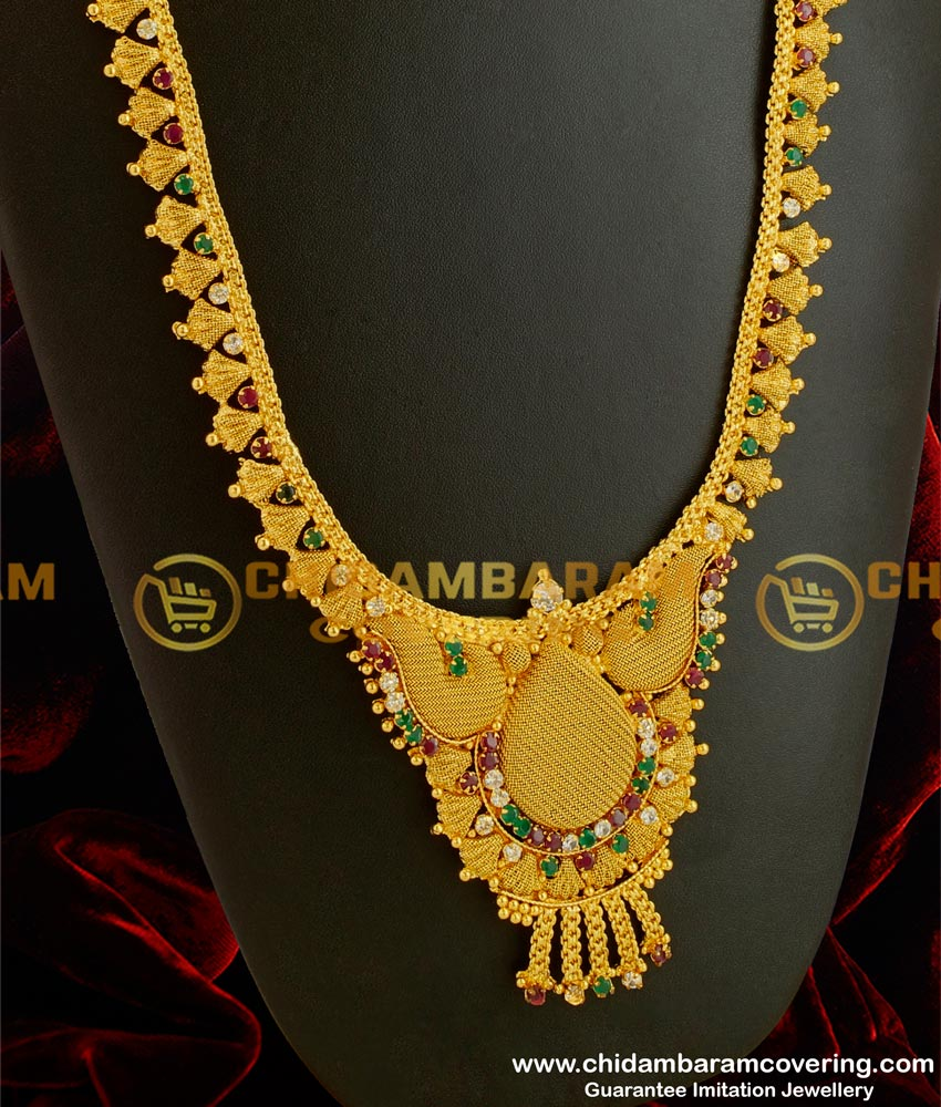 HRM040 – One Gram Gold Plated Broad Multi Color Stone Haram Design for Marriage