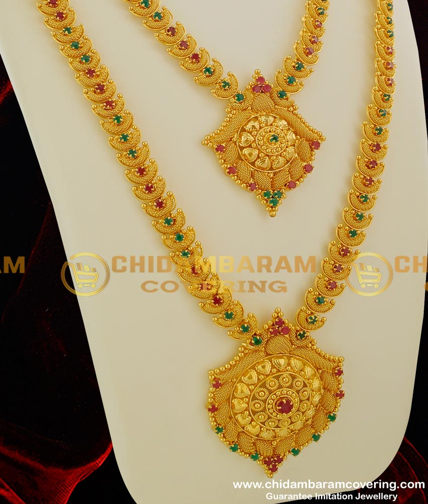 HRM062 - Gold Plated Jewellery Necklace Haram Combo Designs AD Stones Matching Bridal Set