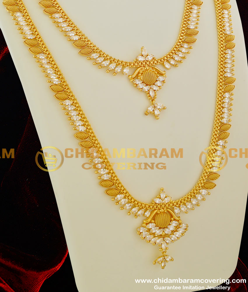 HRM063 - White AD Stones Haram South Indian Design Kerala Style Gold Covering Jewellery Online