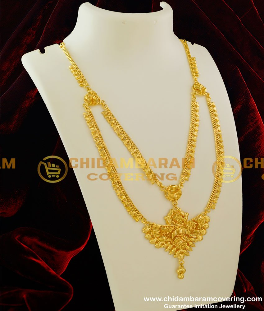 HRM066 - Traditional Two Line Revathi Malai Latest Bridal Gold Plated Imitation Jewellery Collection