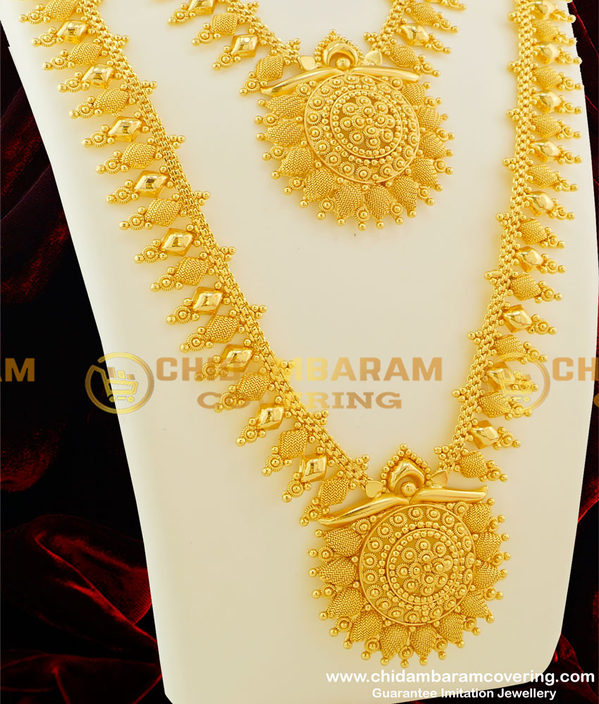 HRM068 - Attractive Rich Look Flower Design Long Haram and Necklace Combo Party Wear Set Online