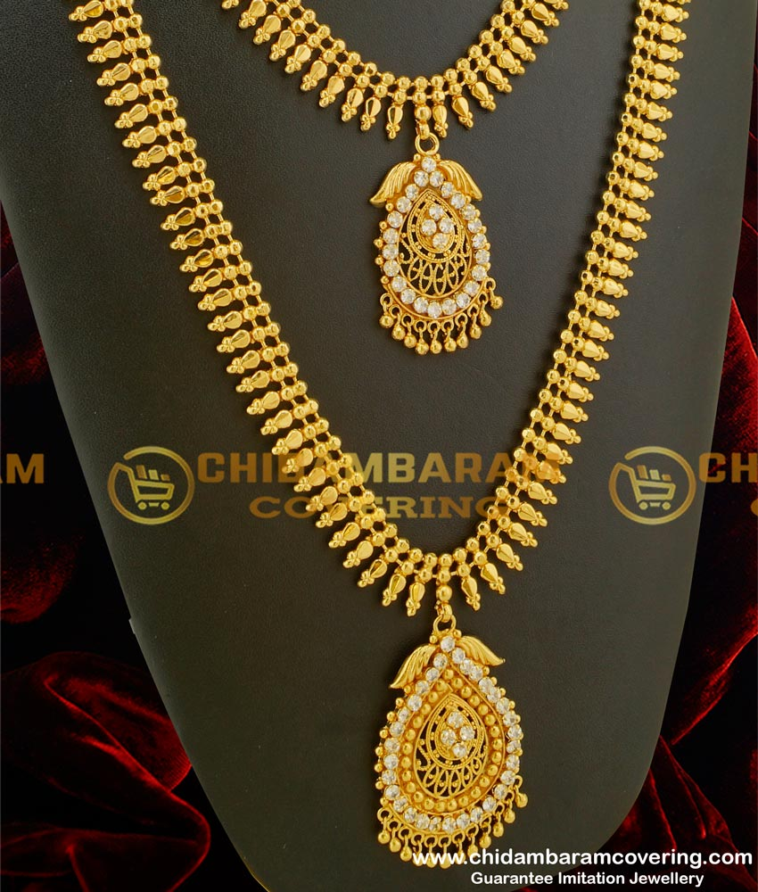 HRM079 – Kerala Style Flexible and white stone Design Gold Plated Haram Combo Set for Women