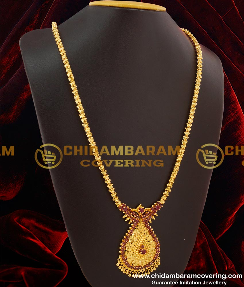 HRM097 – New Arrival Chain Type Full Ruby Stone Pendant Long Haram Design Wear Different Occasion