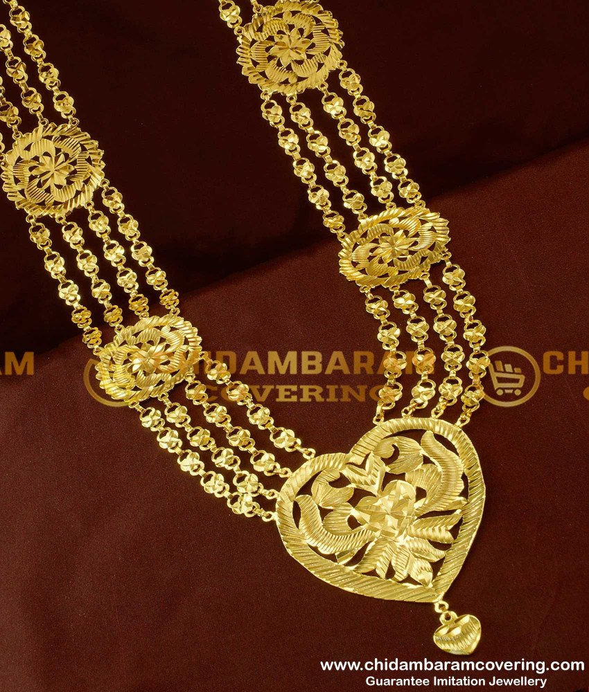 HRM111 - New Model Four line Heart Shape Governor Malai Design Long Haram