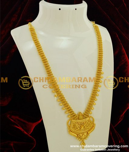HRM188 - Bridal Wear Gold Plated Plain Long Haram Bridal Jewellery Online