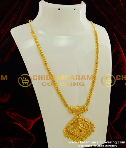 HRM189 - Simple Look Ruby Stone Flexible Long Haram Collections Buy Online