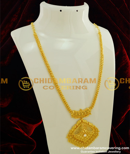 HRM190 - Simple Look White Stone Flexible Long Haram Collections Buy Online