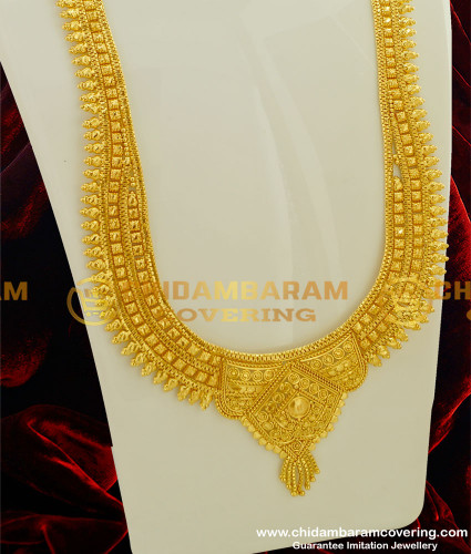 HRM192 - 1 Gram Micro Plated Broad Calcutta Design Long Haram for Wedding