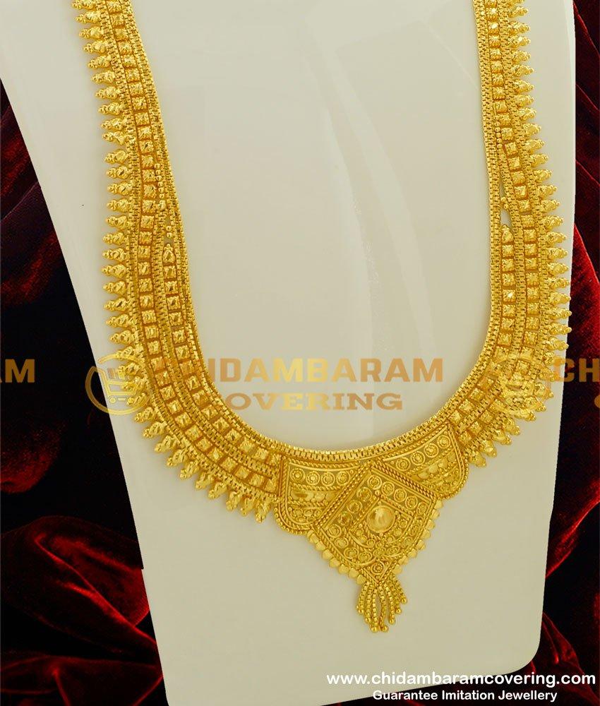HRM192 - 1 Gram Micro Plated Broad Calcutta Design Long Haram for Wedding
