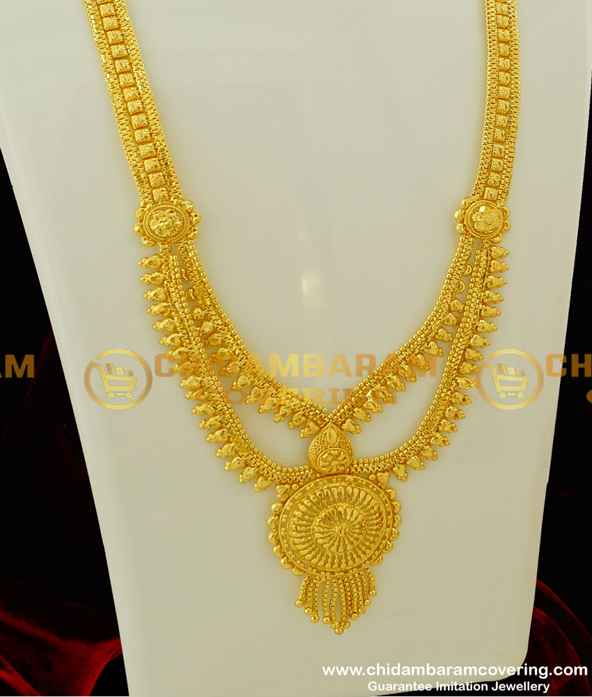 HRM199 - Real Gold Look Light Weight Step Chain Haram Two Line Simple Haram Online