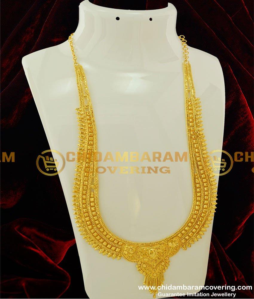 HRM201 - Latest Gold Haram Design Bridal Long Haram for Wedding