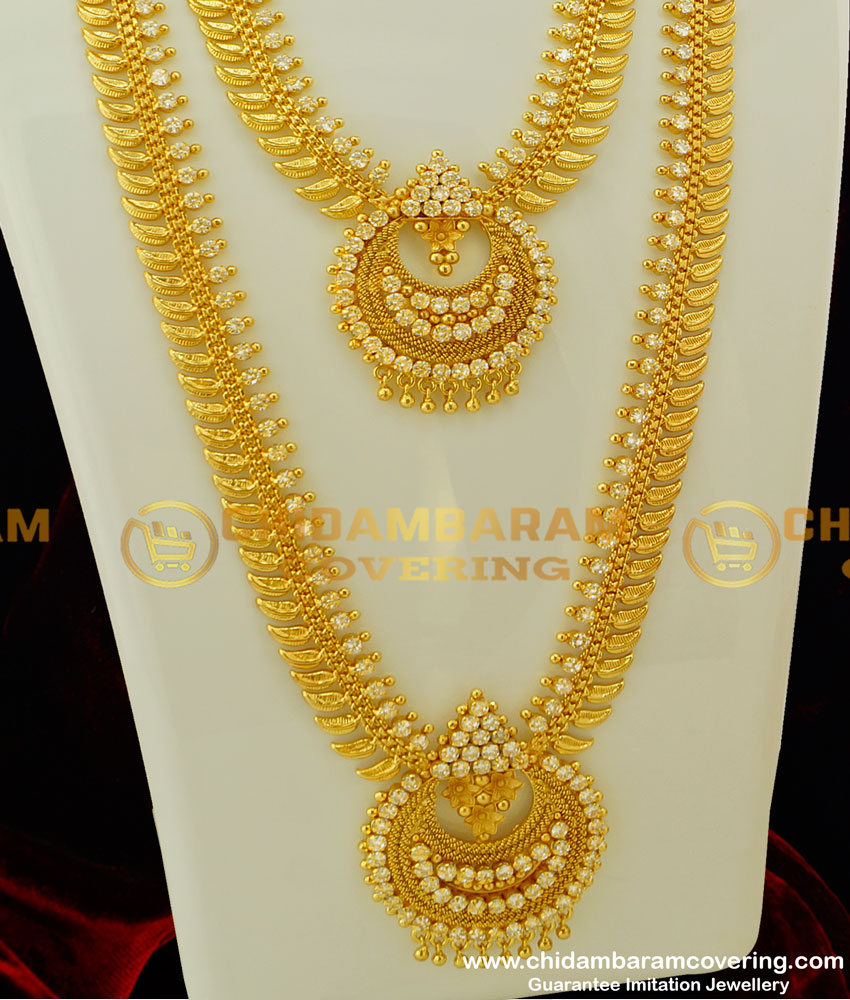 HRM208 - Latest Collection Bridal Wear Full White Stone Long Haram Necklace Set Wedding Jewellery Online