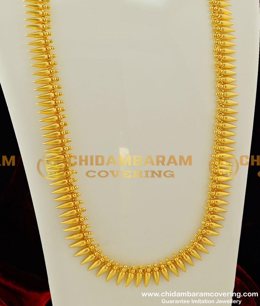 HRM224 - New Gold Pattern Kerala Pichimottu Mala Design Haram for Wedding