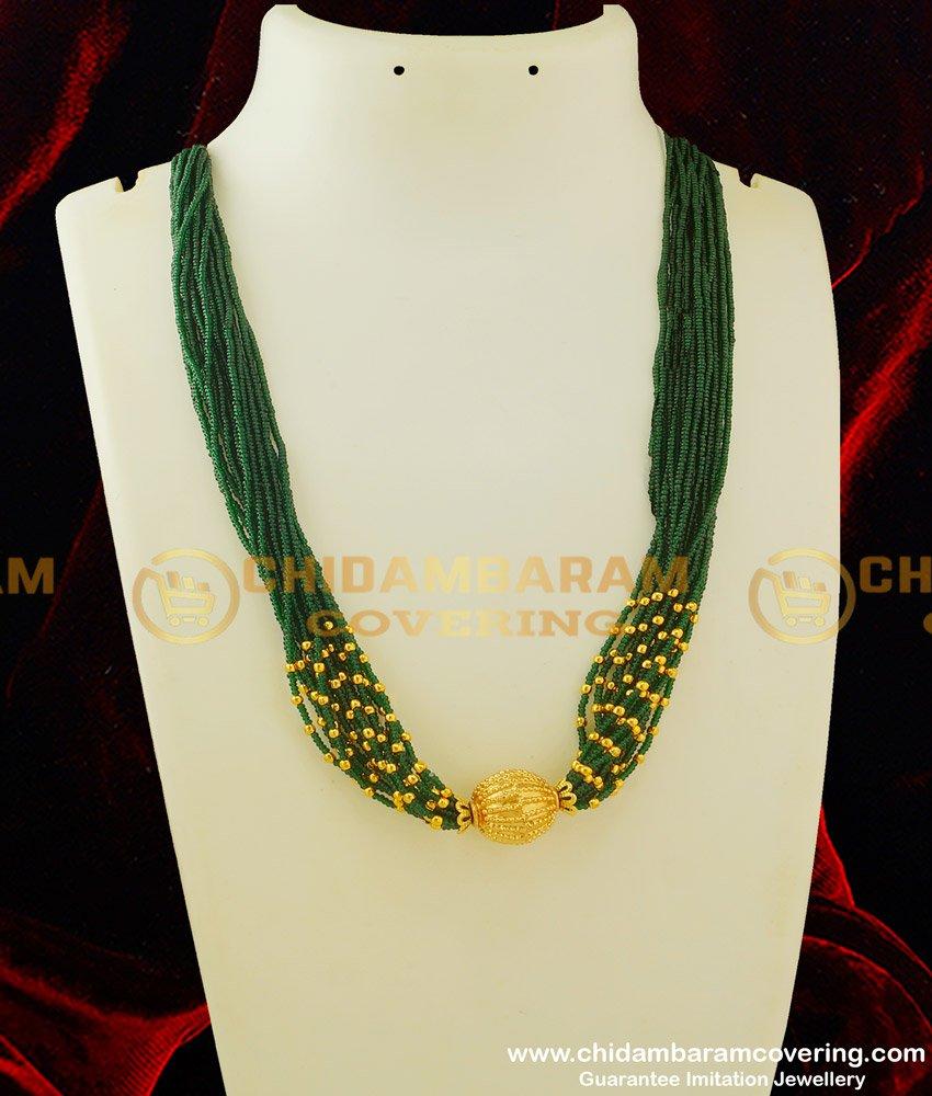 HRM241 - Trendy Gold Tone Green Beaded Multi Stranded Necklace Designer Emerald Beads Mala Haram Online