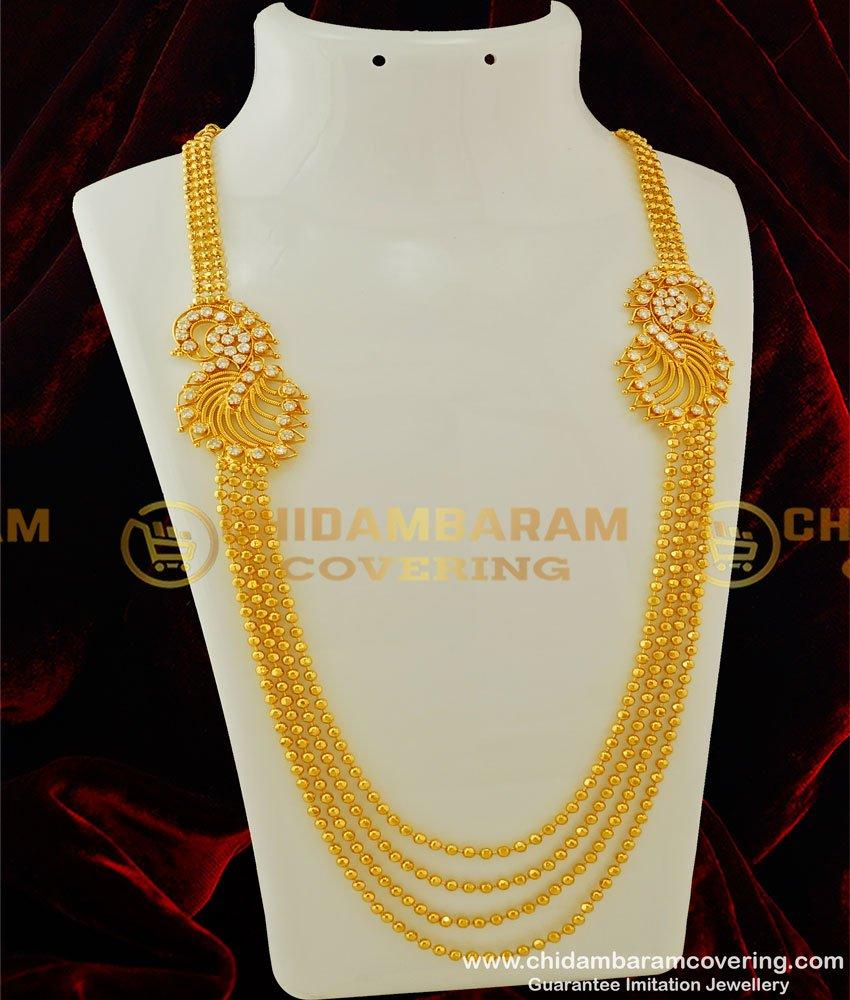 HRM251 - Latest Multilayer American Diamond Double Side Mugappu Gold Balls Haram Online