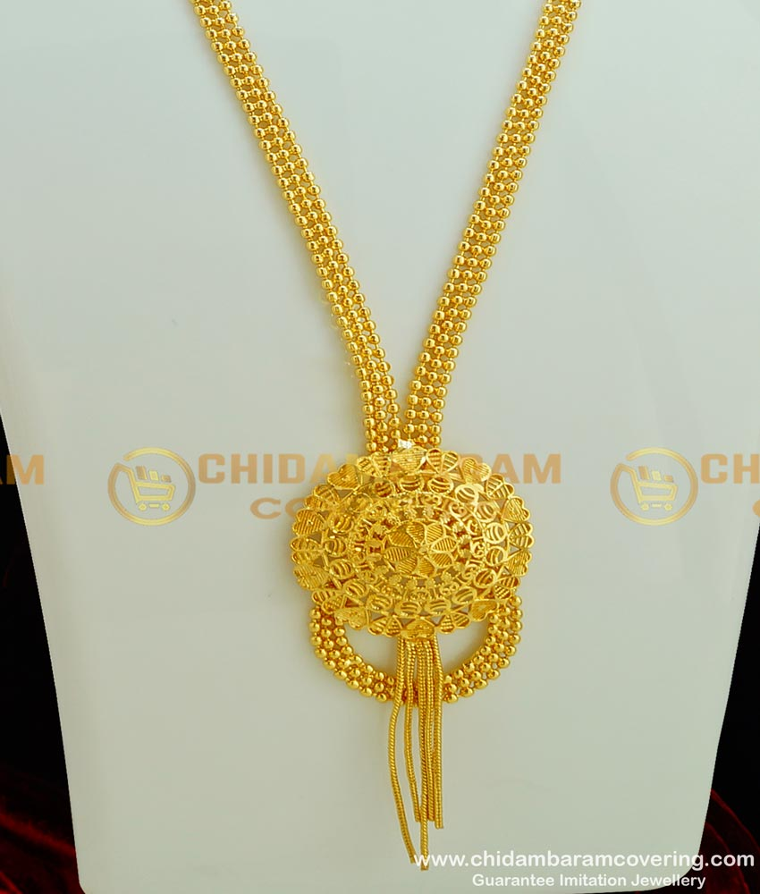 HRM298 - New Model Party Wear Gold Beads Unique Haram Design Imitation Jewellery Online