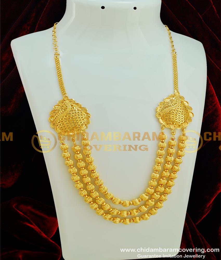 HRM299 - Trendy Gold Balls 3 Layer Designer Short Haram Bridal Jewelry for Wedding