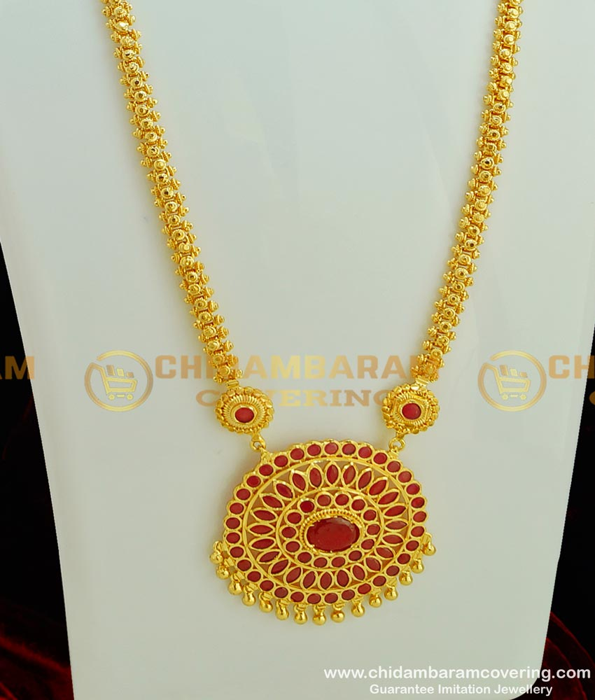 HRM300 - Beautiful Look High Quality Ruby Stone Round Dollar Short Haram Indian Jewellery