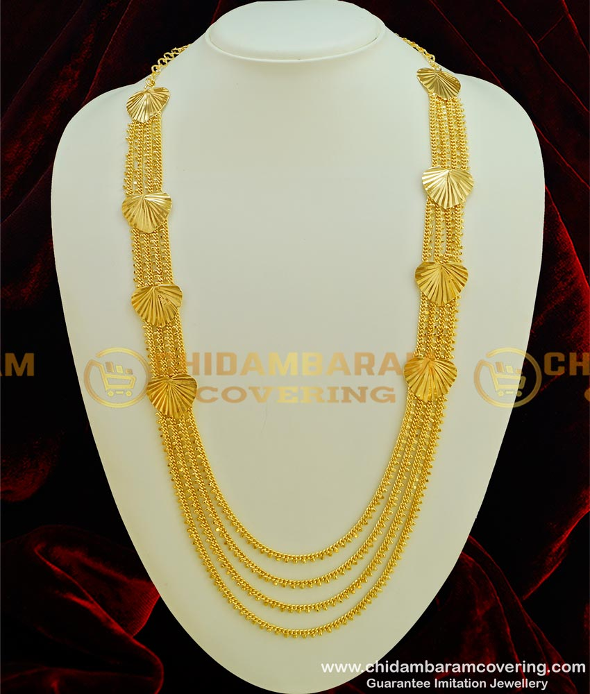 HRM302 - New Bridal Wear Heart Design Chain Type Layered Gold Covering Haram
