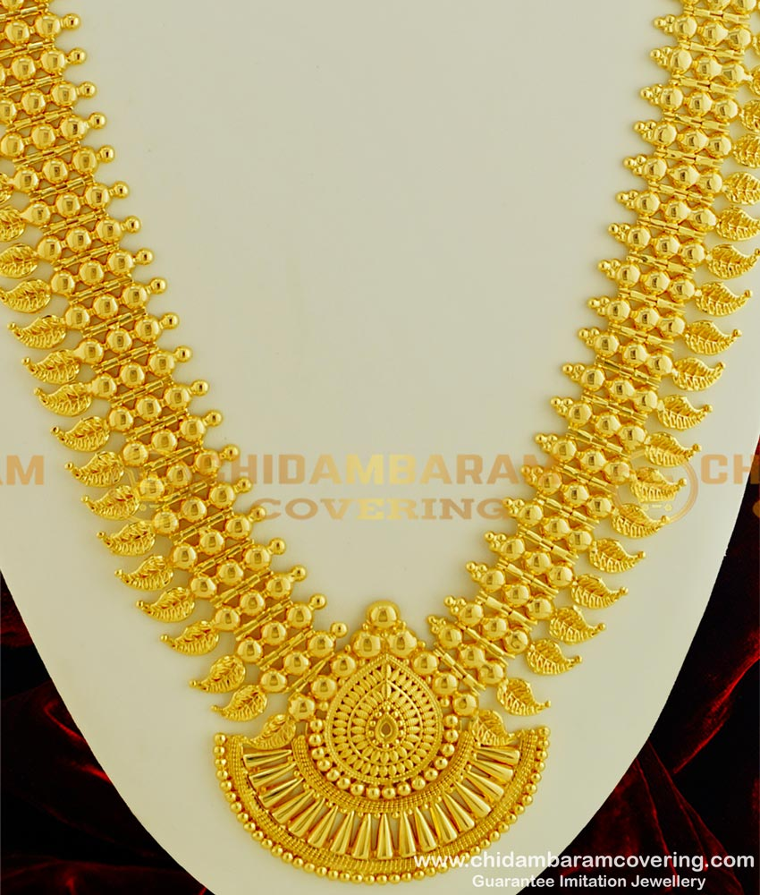 HRM327 - Kerala Jewelry Light Weight Designer Broad Mango Bridal Long Haram Design Gold Plated Jewellery