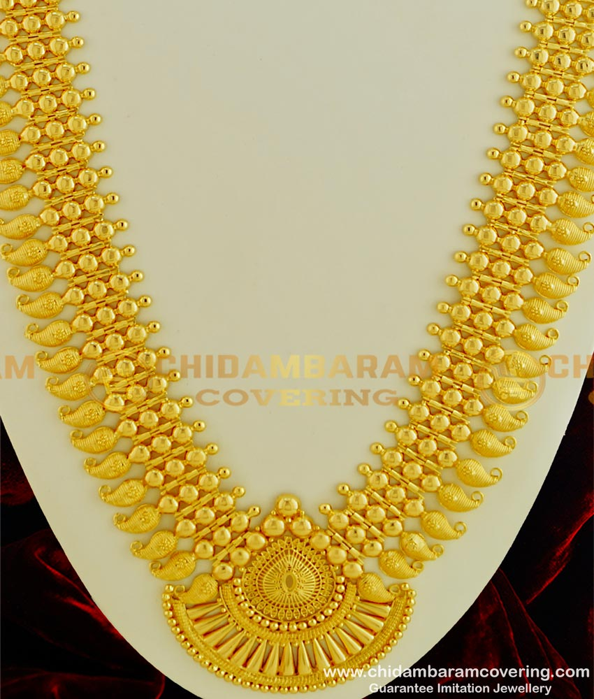 HRM328 - Attractive Broad Three Line Gold Beads Designer Mango Haram Kerala Jewelry Long Haram