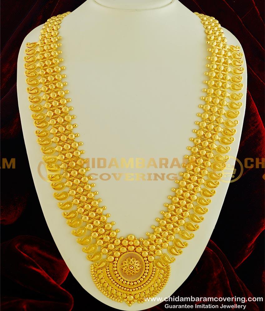 HRM329 - Elegant Traditional Kerala Jewellery Broad Big Dollar Mango Long Bridal Gold Plated Haram Online