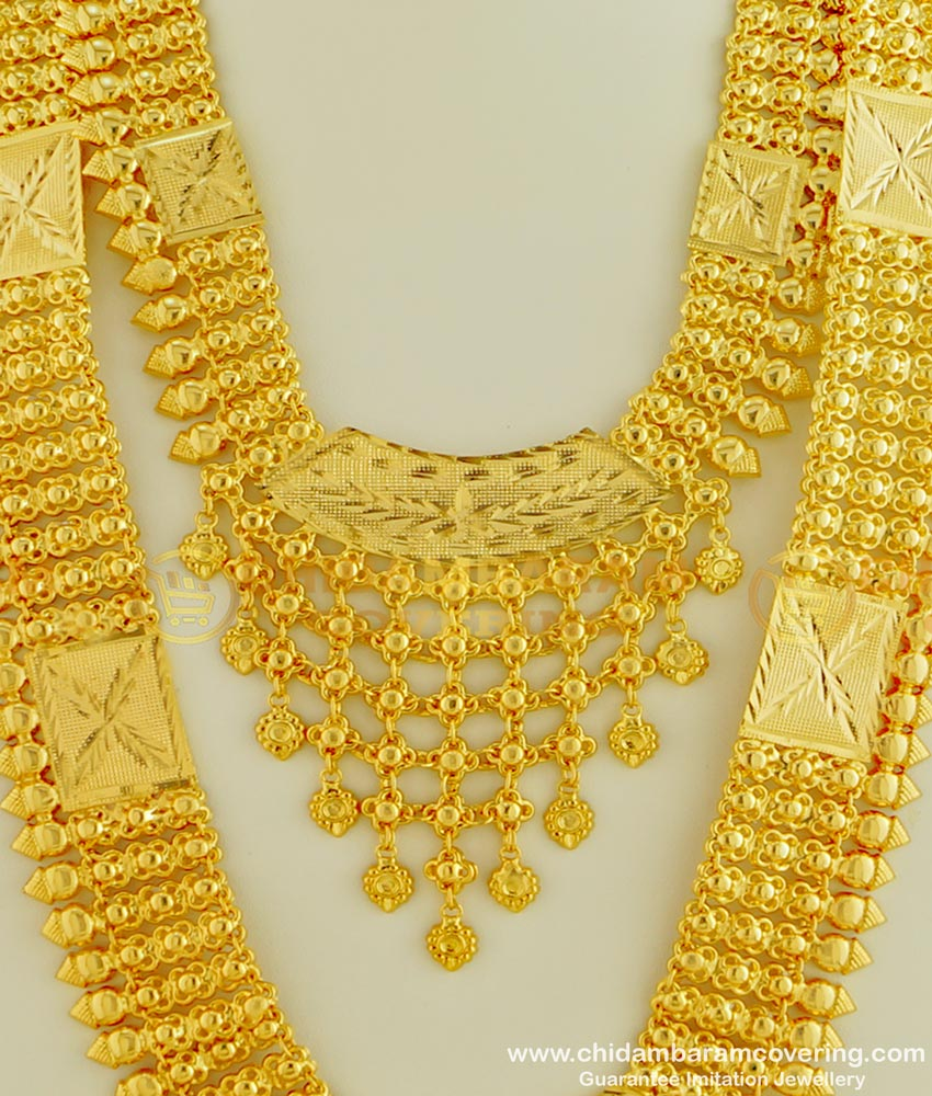HRM331 - Stunning Gold Muslim Wedding Jewellery Gold Plated Lappa Long Haram Necklace Combo Set
