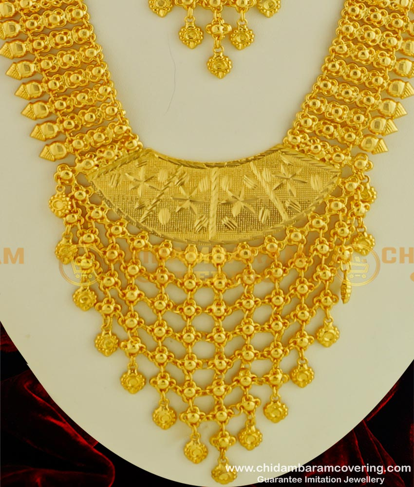 HRM332 - Kerala Wedding Gold Jewellery Collection Gold Plated Net Pattern Long Haram Necklace Combo Set