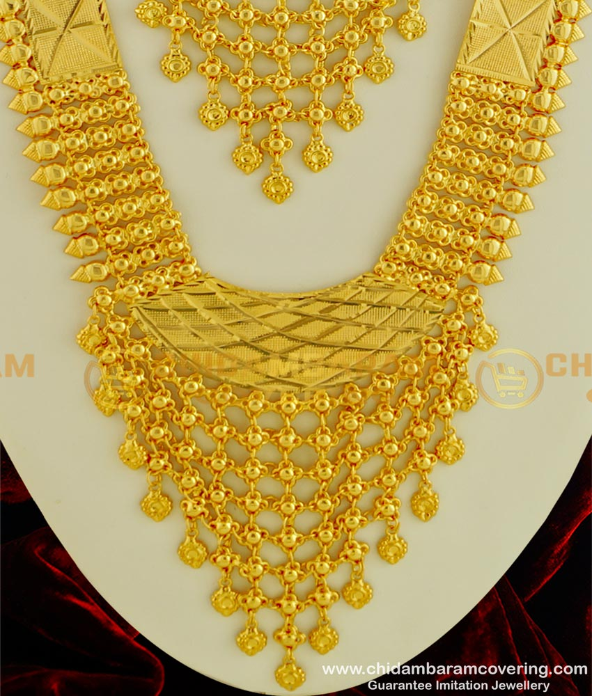 HRM333 - Marriage Bridal Long Haram with Necklace Combo Set First Quality 1 Year Guarantee Kerala Imitation Jewellery