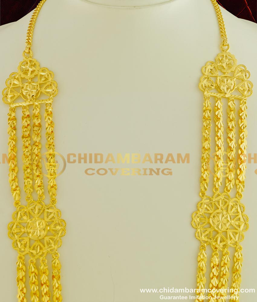 HRM336 - Beautiful Gold Design Four Line Flower Design Governor Malai Guarantee Haram Online