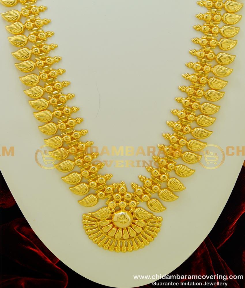 HRM337 - Kerala Light Weight Gold Haram Design Bridal Wear Mango Haram Online