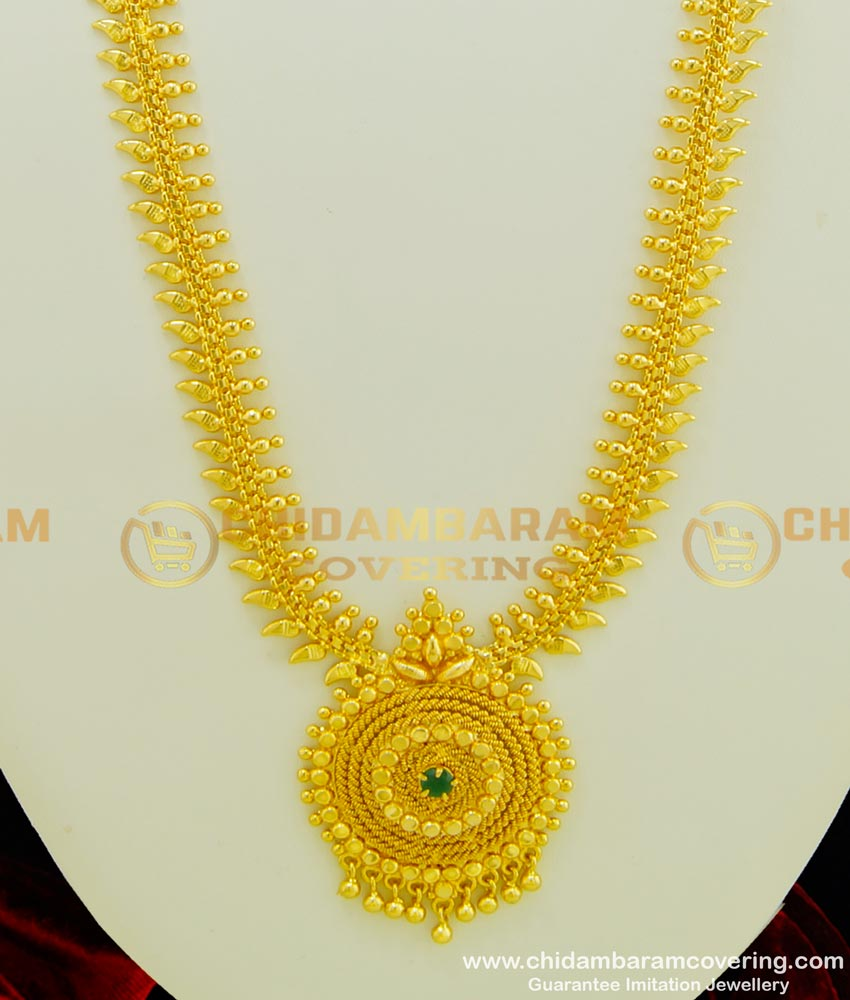 HRM349 - 1 Gram Gold Plated Single Emerald Stone Function Wear Long Haram  Buy Online
