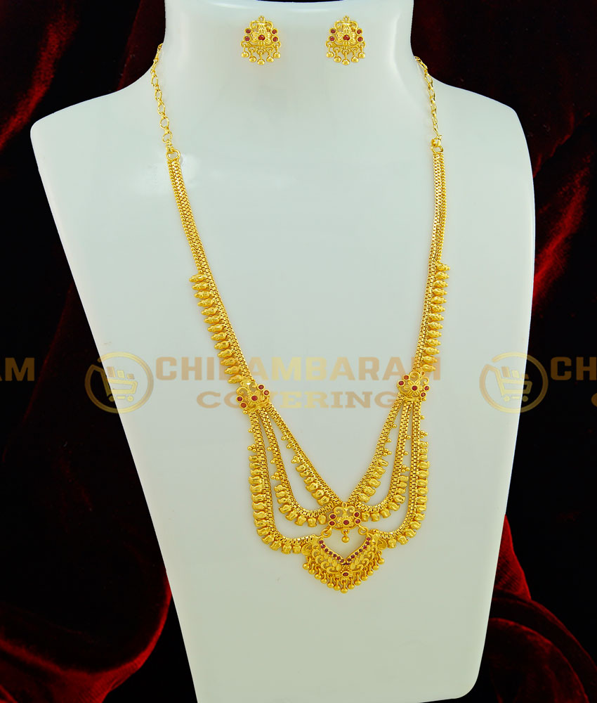 HRM411 - New Collections One Gram Gold Forming Haram Ruby Stone 3 Line Mini Haram with Earring for Wedding